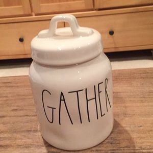 "Rae Dunn ""Gather"" ceramic canister."